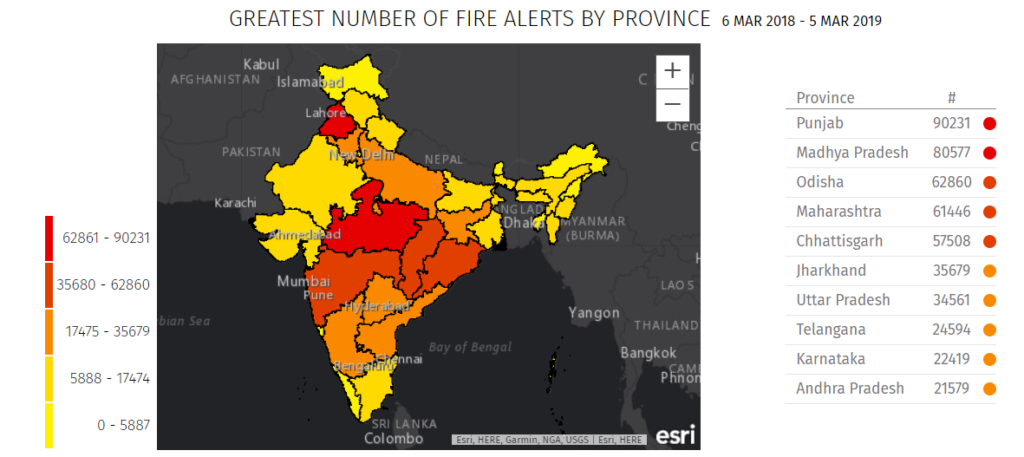 Forest fires in India